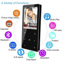 Portable 16GB Bluetooth Music Player Digital Audio Sound Touch Screen MP3 Player thumbnail image