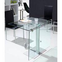 modern glass and metal folding table