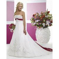 A-Line Strapless Chapel Train Satin Bridal Gown