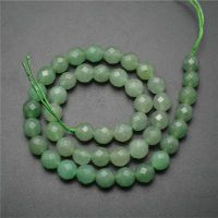 Round Faceted Green Aventurine Stone Beads