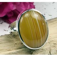 yellow banded cabochon rings-fashion rings,gemstone rings,fine jewelry,fashion jewellery thumbnail image