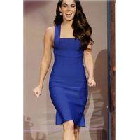 Elegant Royal Blue Wide Straps Bodycon Dress