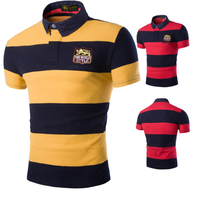 Men's Yarn dye striped cotton spandex polo shirts with custom label thumbnail image