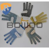 2016 new cotton knitted pvc dots safety working glove