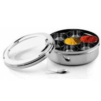 Stainless Steel Transparent Lid Spice Box (Masala Dabba)