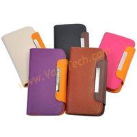 Black Lichee Veins wallet Leather Case For Samsung Galaxy Nexus i9250 ,With wallet Slot
