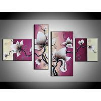 Oil painting on canvas  pink peachblossom 100%hand-painted flower painting high-qualitY  Decorative