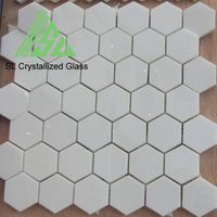 white crystallized hexagon glass mosaic