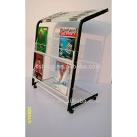 Floor standing metal magazine and newspaper display rack for hotel HS-NS02