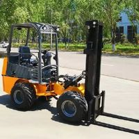 Small articulated diesel forklift for hives loading.