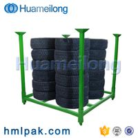High quality adjustable portable stacking warehouse metal storage tire rack for sale thumbnail image