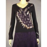 blouse with leather embroider