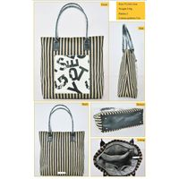 RT Stripe and PU contrast travel bag -9 tote bag