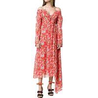 Custom Silk Asymmetrical Hem Floral Print Off-the-Shoulder Maxi Dress thumbnail image