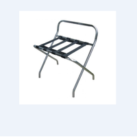 silver chrome Folding luggage rack with back