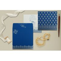 Royal Blue Screen Printing Wedding Invitations