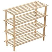 natural 4 tires wooden shoe rack