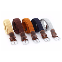 High Quality Custom Fabric unisex Braided Elastic Stretch Belts For Jeans