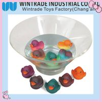 color changed rubber bath duck toy in hot water
