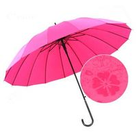 Straight Auto Pongee Water Printing Umbrella Color Changing Umbrella