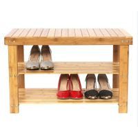 Home Furniture 3-Layers Eco-Friendly Bamboo Shoe Bench Shoe Rack Wholesale