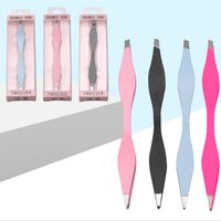 Free sample stainless steel double-headed eyebrow inclined tweezers tool belt package