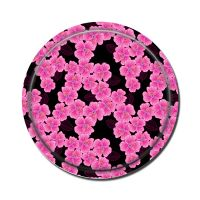 Round Birch Wooden Tray-Pink On Black thumbnail image