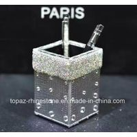 Crystal Sticker Gold PU Pen Holder Rhinestone Storage Tube Rhinestone Tissue Box