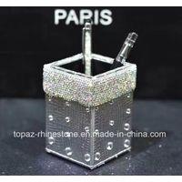 Crystal Sticker Gold PU Pen Holder Rhinestone Storage Tube Rhinestone Tissue Box