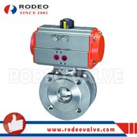 Pneumatic stainless steel wafer ball valve
