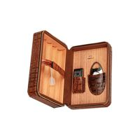 Custom Brown Leather Collection 12 Count Travel Cigar Humidorbest cigar humidifier thumbnail image