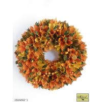Orange wood curl and berries wreath fall and harveat decoration thumbnail image