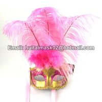 Ostrich Feather Mask With Gold Face thumbnail image