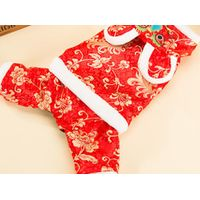 PET Clothes Dog Cat Teddy Tiger Hat China Tang Clothes Costume Dresss in Spring and Autumn