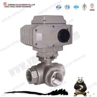 3 waypneumatic thread stainless steel ball valve