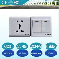 HD 2.4G wireless remote control hidden wall socket camera 30fps TF card motion detection