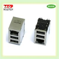 10/100/1000 Base-Tx Intergrated Magnetic Transformer With Led Dual USB Connector thumbnail image