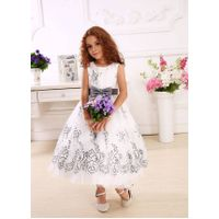 ankle-length girl baby kid children dress made of cotton with gray bow-knot thumbnail image