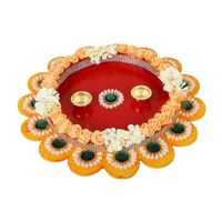 Beautifully Handcrafted Multicolor Pooja Thali Aarti Plate