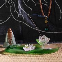 Crystal Glass Liuli Buddhism Home Decorative Incense Stick Burner