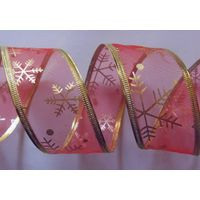 red organza with gold snowflowers fabric, sonic pressing gold wire edge thumbnail image