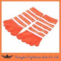 womens fashion striped five toe  five finger socks thumbnail image