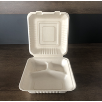Customized 3-Compartment White Bagasse Disposable Take out to Go Food Container with Lids for Lunch