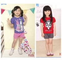 Wholesale girl summer clothing sets short sleeves T shirt+ short pants in stock thumbnail image