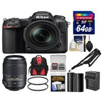 Nikon D500 WiFi 4K Digital SLR Camera & 16-80mm VR Lens with 55-300mm VR Lens + 64GB Card + Backpack