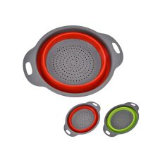 Collapsible Colanders Set, Silicone Kitchen Strainers Folding Space-Saving Fruit Veggie Baskets