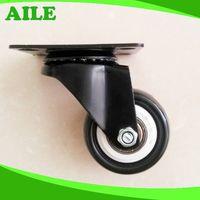 50mm Swivel Light Duty Black PU Small Caster Wheels thumbnail image