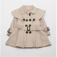 The new double-breasted long coat children's shawl Autumn 2013 Korean version of baby girls coat jac