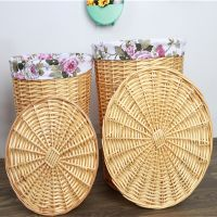 Handmade wicker laundry basket with lid large and small size