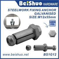 M12x55mm zinc Anchor Bolt for Steelwork,hexagon socket anchor bolt,Hollow Structural Steel Sections,